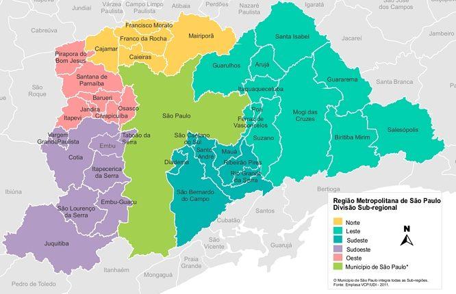 Mapa região metropolitana