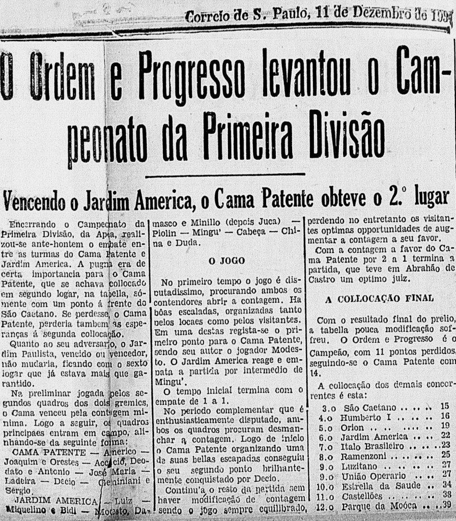 Ordem e Progresso campeão 1937