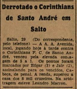 AA Avenisa 5x1 Corinthians Santo André