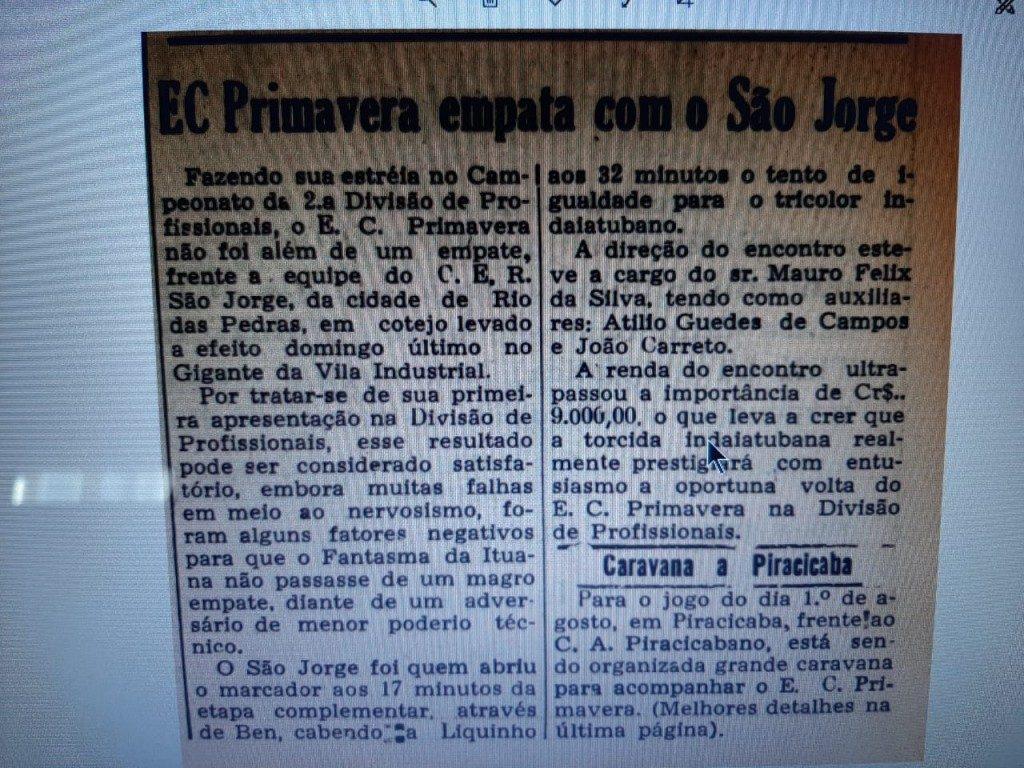 Primavera 1x1 São Jorge - 1976