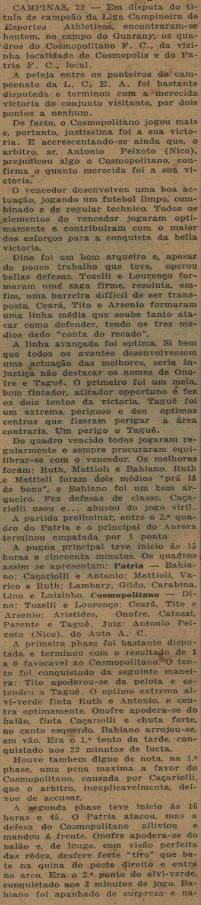 Cosmopolitano FC campeão 1933