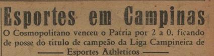 Cosmopolitano FC campeão da liga campineira